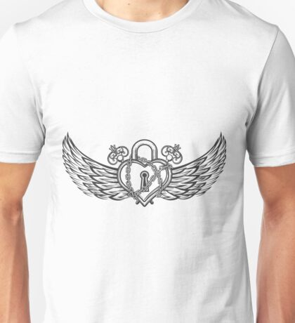Heart Shaped Lock with Wings Unisex T-Shirt