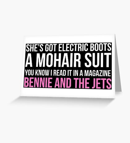 """""""Bennie and the Jets"""" by Elton John (White) Greeting Card"""