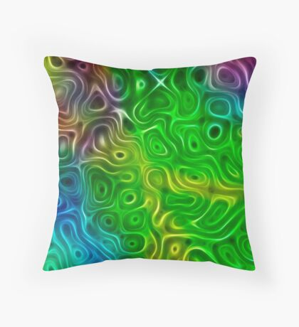 Fractal colorful abstract line background Throw Pillow
