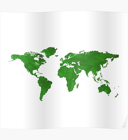 Green World Map  Poster