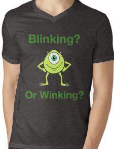 Mike Wazowski - Blinking or Winking - Cute Text Design Mens V-Neck T-Shirt