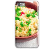 Wooden bowl of cooked rice and leek iPhone Case/Skin