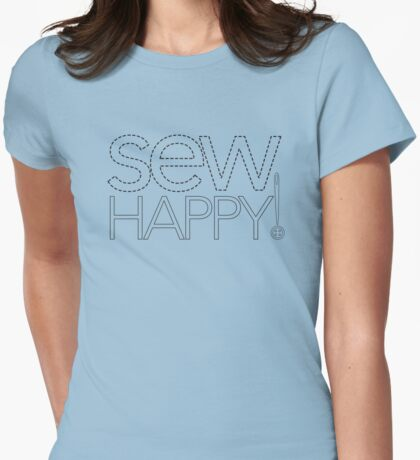 Sew Happy! graphic logo Womens Fitted T-Shirt