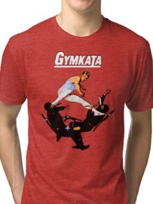 The skill of gymnastics, the kill of karate. Tri-blend T-Shirt
