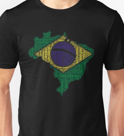 Love Brazil Brazilian Flag Colors With Cities Graphical Design Unisex T-Shirt