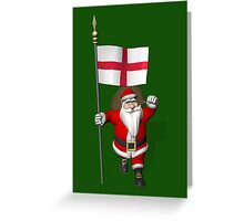 Santa Claus With Flag Of England Greeting Card