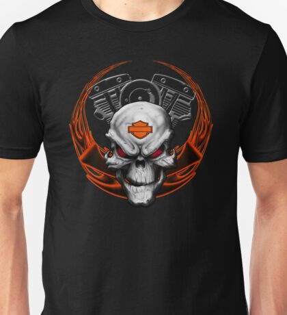 Orange Flames with Skull & Engine Unisex T-Shirt