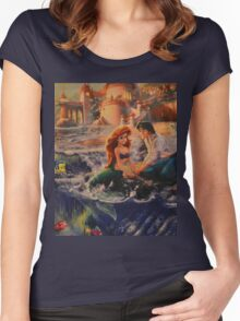 Mermaid Prince Dog Fish Crab Princess Prince Women's Fitted Scoop T-Shirt