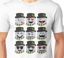 Funny Christmas Snowman Emoji Faces Unisex T-Shirt