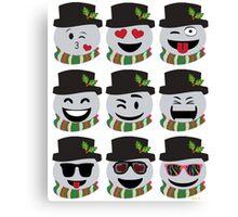 Funny Christmas Snowman Emoji Faces Canvas Print