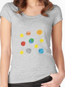 Cute Space Pattern Women's Fitted Scoop T-Shirt