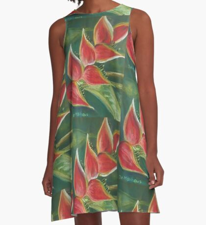 Heliconia Bloom A-Line Dress