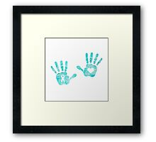 Watercolor Handprints - Turquoise Framed Print