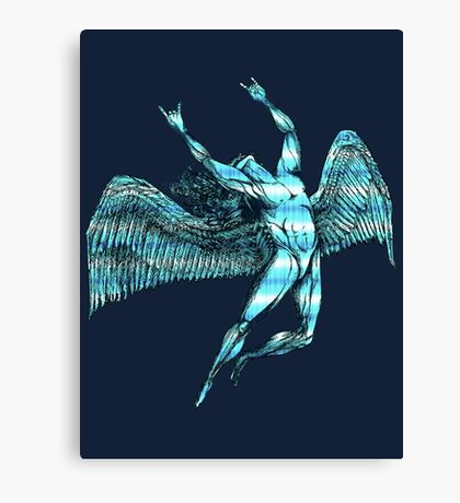 ICARUS THROWS THE HORNS - blue/white NEW DESIGN Canvas Print
