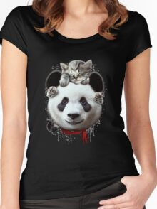 CAT ON PANDA Women's Fitted Scoop T-Shirt