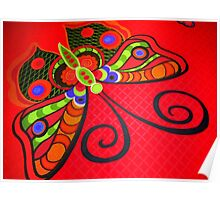 Very beautiful decorative butterfly on a red background.Fashion Poster