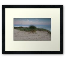 Swansea bay grass and sand dunes Framed Print