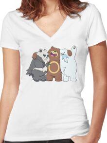 Poke Bare Bears Women's Fitted V-Neck T-Shirt