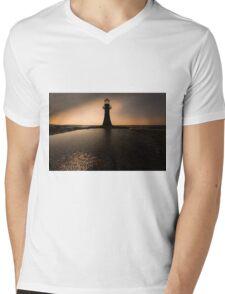Whitford lighthouse Gower Mens V-Neck T-Shirt