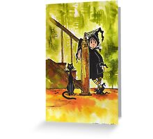 Little Witch and Cat Greeting Card