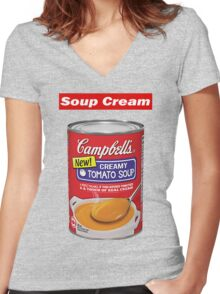 """Supreme """"Soup Cream"""" Women's Fitted V-Neck T-Shirt"""