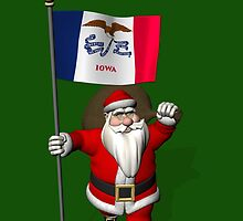 Santa Claus With Flag Of Iowa by Mythos57