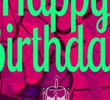 Happy Birthday Cake & Flowers Sticker