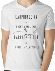 Funny Music Earphones Quote Mens V-Neck T-Shirt