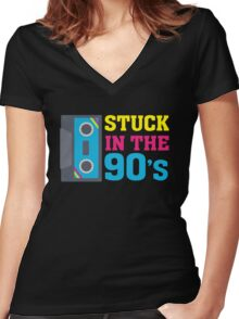 Stuck In The 90's Cassette Tape Vintage Retro Tech Women's Fitted V-Neck T-Shirt
