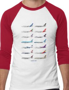 Airbus A380 Operators Illustration Men's Baseball ¾ T-Shirt