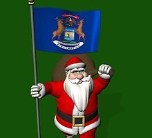 Santa Claus With Flag Of Michigan by Mythos57