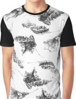 Dry Autumn Leaves Pattern Graphic T-Shirt
