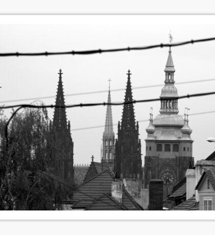 Monochrome spires of Prague Sticker