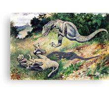 Fighting Dinosaurs Canvas Print