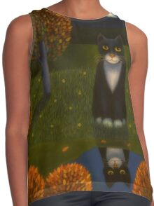 The cat and the moon Contrast Tank