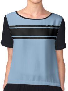 Retro Inspired Stripes Uni Airy Blue Fall 2016 Chiffon Top