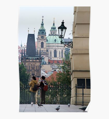 Tourists peruse the sights of Prague Poster