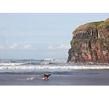 blur motion of dog running by cliffs Photographic Print