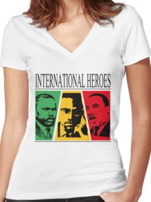 INTERNATIONAL HEROES Women's Fitted V-Neck T-Shirt