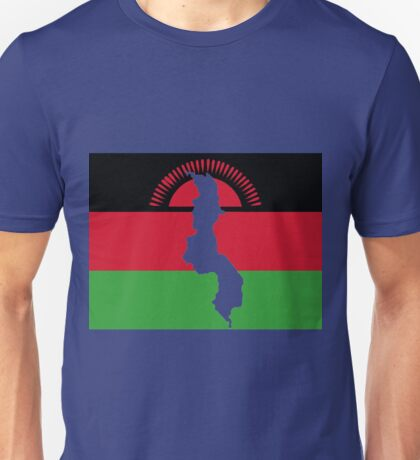 Malawi Flag With Map of Malawi Unisex T-Shirt