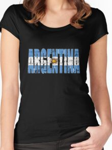 Argentina Font with Argentinian Flag Women's Fitted Scoop T-Shirt