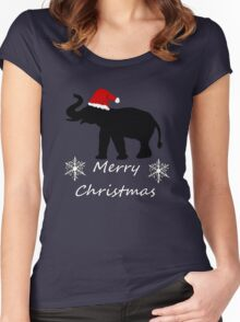 Christmas Elephant Women's Fitted Scoop T-Shirt