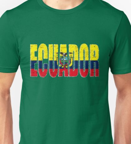 Ecuador Font with Ecuadorian Flag Unisex T-Shirt