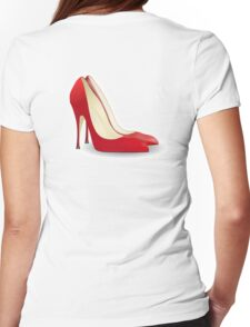 High Heels, Heels, Shoes, Pumps, Stilettos, Red Womens Fitted T-Shirt