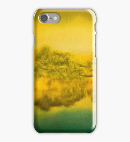 The trees growing on the opposite riverbank and their reflection in water iPhone Case/Skin