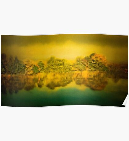 The trees growing on the opposite riverbank and their reflection in water Poster