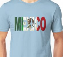 Mexico Font with Mexican Flag Unisex T-Shirt