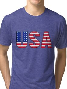 USA United States of America Font with American Flag Tri-blend T-Shirt
