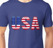 USA United States of America Font with American Flag Unisex T-Shirt