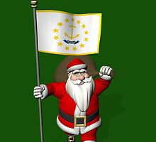 Santa Claus With Flag Of Rhode Island by Mythos57